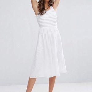 ASOS | White Pleated Cotton Midi Sundress